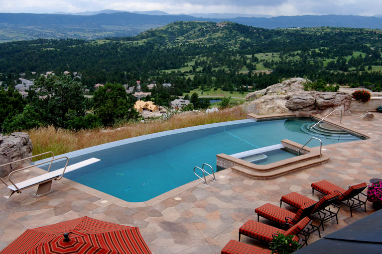 private infinity pool constructed in castle pines, colorado
